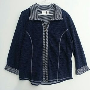 Chico's 2 Weekends Navy Blue Dot Stripe Jacket